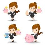 Donna di affari con la banca piggy Immagine Stock Libera da Diritti