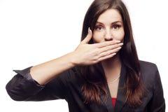 Donna di affari con la bocca chiusa Fotografia Stock Libera da Diritti