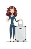 Donna di affari con la borsa di viaggio su fondo bianco Fotografia Stock