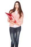 Donna di affari con la cartella su fondo isolato bianco Immagini Stock Libere da Diritti