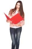 Donna di affari con la cartella su fondo isolato bianco Fotografia Stock