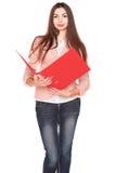 Donna di affari con la cartella su fondo isolato bianco Fotografie Stock