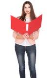 Donna di affari con la cartella su fondo isolato bianco Fotografia Stock Libera da Diritti