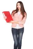 Donna di affari con la cartella su fondo isolato bianco Fotografie Stock Libere da Diritti