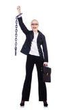 Donna di affari con la catena Immagini Stock