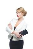 Donna di affari con la frizione a disposizione Immagini Stock