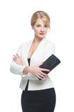 Donna di affari con la frizione a disposizione Fotografie Stock Libere da Diritti