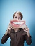 Donna di affari con la grande bocca Fotografie Stock