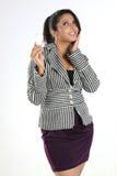 Donna di affari con la lampadina Fotografia Stock Libera da Diritti