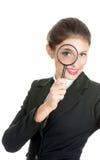 Donna di affari con la lente Fotografia Stock