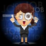 Donna di affari con la lente d'ingrandimento che cerca il lavoro Immagine Stock