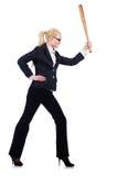 Donna di affari con la mazza da baseball Immagine Stock Libera da Diritti