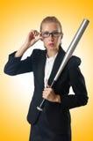 Donna di affari con la mazza da baseball Immagini Stock