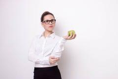 Donna di affari con la mela Immagini Stock