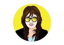 Donna di affari con la moneta ed il lingotto di oro visibili di vetro Fotografia Stock Libera da Diritti