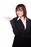 Donna di affari con la palma aperta Fotografia Stock Libera da Diritti