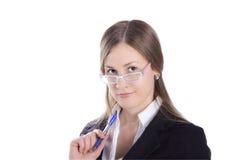 Donna di affari con la penna Immagini Stock Libere da Diritti