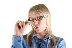 Donna di affari con la penna Immagini Stock