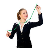 donna di affari con la penna sullo schermo. Isolato Fotografia Stock
