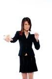 Donna di affari con la scheda ed i soldi Fotografie Stock Libere da Diritti