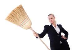 Donna di affari con la spazzola Fotografia Stock Libera da Diritti