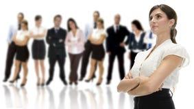 Donna di affari con la sua squadra Immagine Stock Libera da Diritti