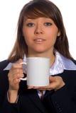 Donna di affari con la tazza Immagine Stock Libera da Diritti
