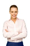 Donna di affari con le braccia piegate Immagini Stock Libere da Diritti