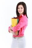 Donna di affari con le cartelle variopinte isolate su backgroun bianco Fotografia Stock