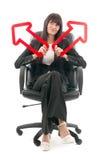 Donna di affari con le frecce Fotografia Stock Libera da Diritti