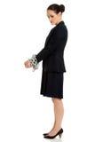 Donna di affari con le manette Fotografie Stock Libere da Diritti