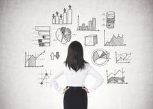 Donna di affari con le mani sulla vita, grafici di dati fotografia stock