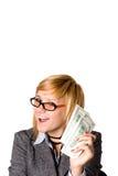 Donna di affari con soldi fotografie stock libere da diritti