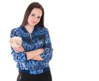 Donna di affari con soldi Immagini Stock
