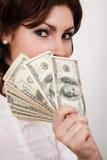 Donna di affari con soldi Immagini Stock Libere da Diritti