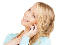 Donna di affari con telefono cellulare la chiamata Fotografie Stock