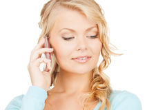 Donna di affari con telefono cellulare la chiamata Immagine Stock