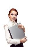 donna di affari con un computer portatile Immagini Stock Libere da Diritti