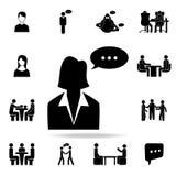 donna di affari con un'icona della bolla di comunicazione Insieme dettagliato delle icone di conversazione Progettazione grafica  royalty illustrazione gratis