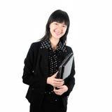 Donna di affari con un PC del ridurre in pani Fotografie Stock Libere da Diritti