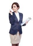 Donna di affari con un ridurre in pani Fotografia Stock