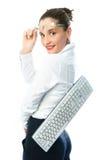 Donna di affari con una tastiera Immagine Stock