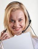 Donna di affari con uno speakerphone Immagini Stock