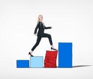 Donna di affari Conquering Adversity Concept Immagini Stock Libere da Diritti