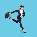Donna di affari corrente isometrica isolata su fondo blu Immagine Stock Libera da Diritti