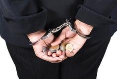 Donna di affari corrotta su bianco Fotografia Stock Libera da Diritti