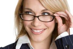 Donna di affari degli occhiali Fotografia Stock