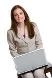 Donna di affari del computer portatile Fotografie Stock