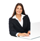 Donna di affari del computer portatile Immagini Stock