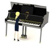 Donna di affari del fumetto che gioca su più clavier Fotografie Stock Libere da Diritti